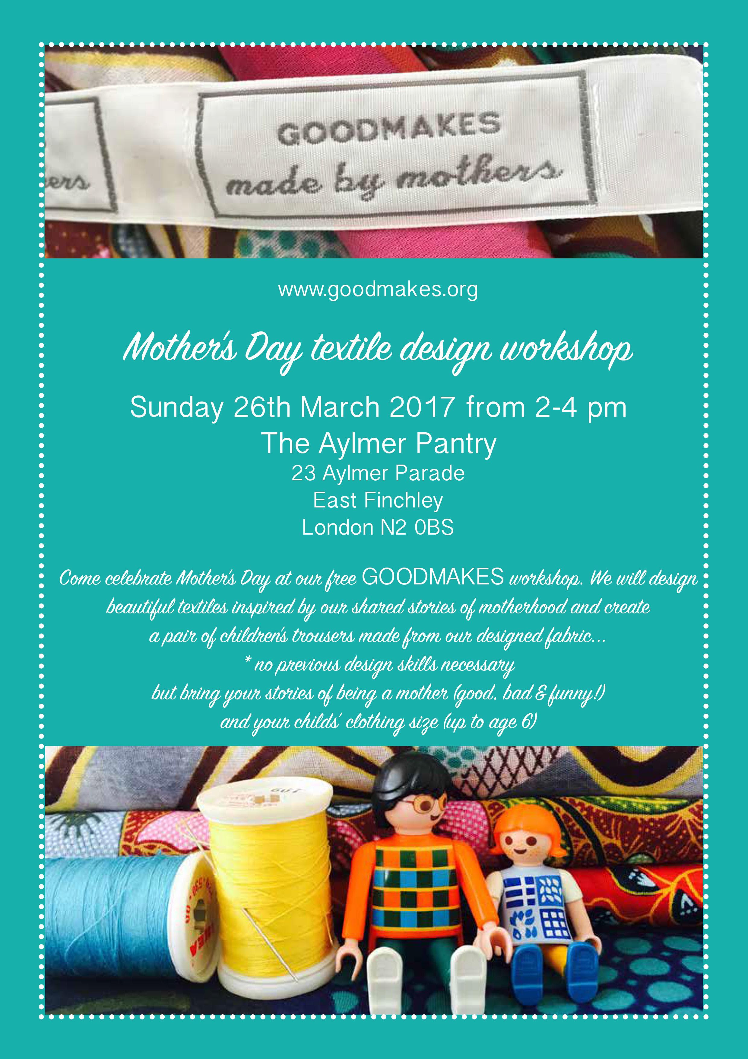 Poster design workshop - Goodmakes Mothers Day Workshop Poster